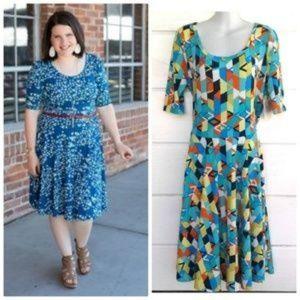 LuLaRoe Nicole Dress Blue Multi-color A-Line 2XL